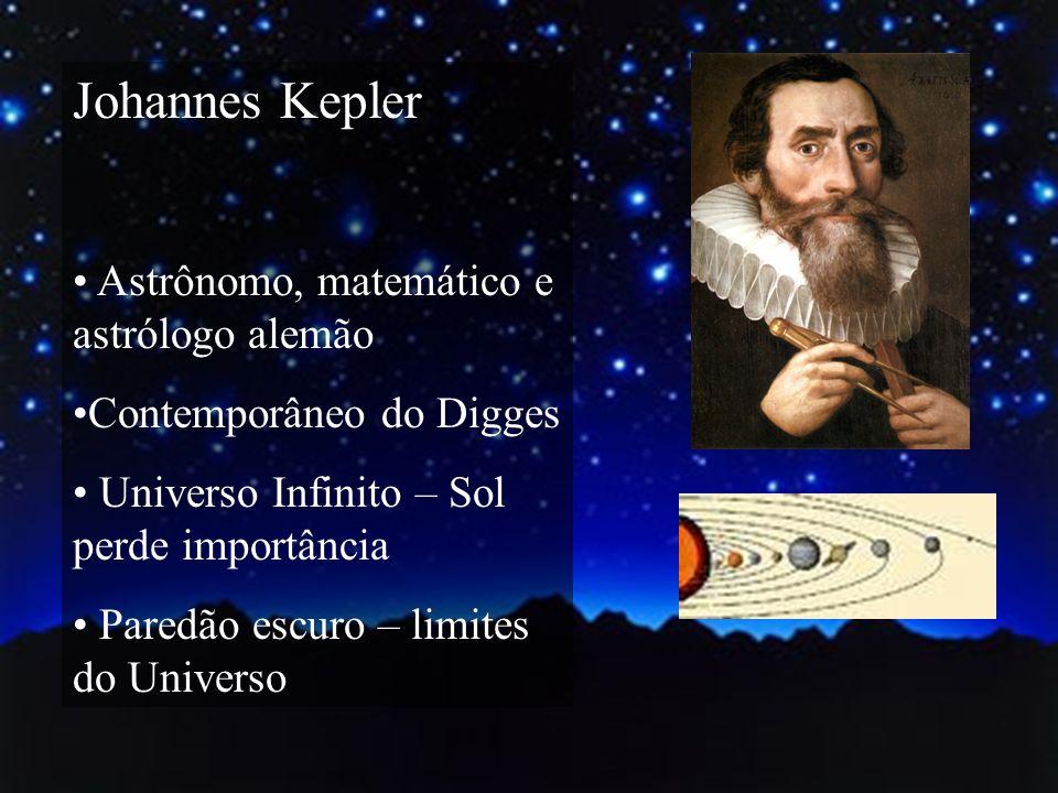 Johannes Kepler Astrônomo, matemático e astrólogo alemão Contemporâneo do Digges Universo Infinito – Sol perde importância Paredão escuro – limites do