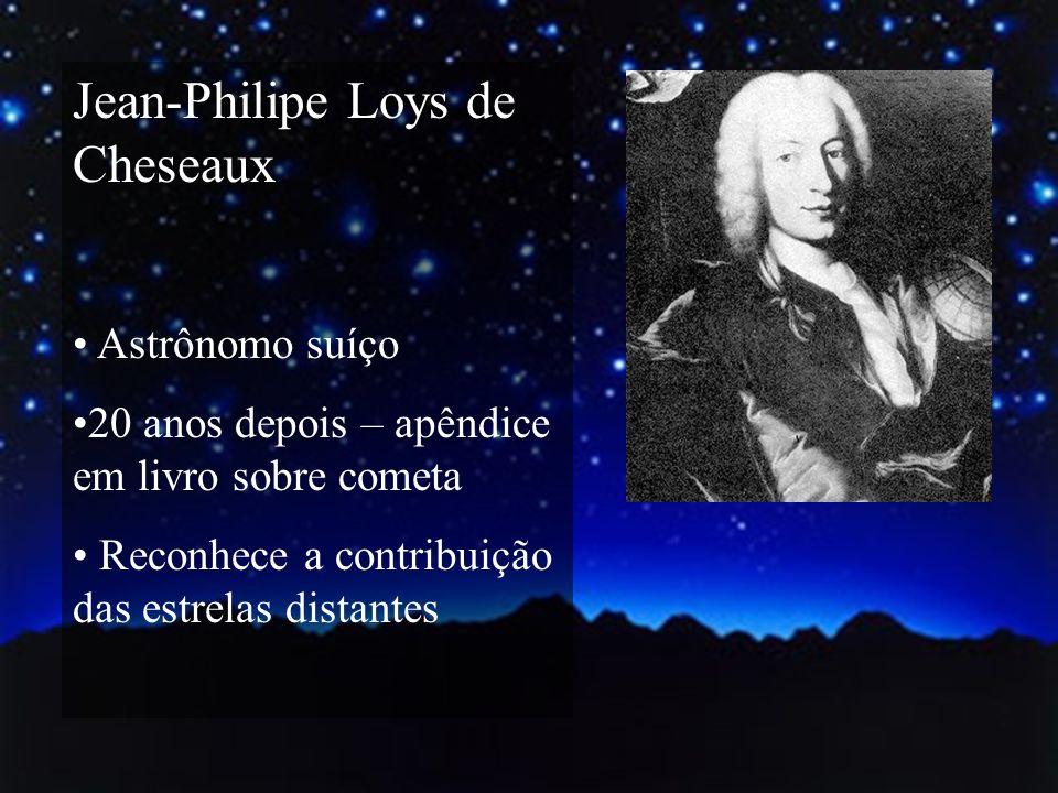 Jean-Philipe Loys de Cheseaux Astrônomo suíço 20 anos depois – apêndice em livro sobre cometa Reconhece a contribuição das estrelas distantes