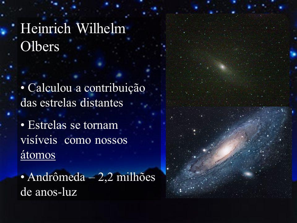 Heinrich Wilhelm Olbers Calculou a contribuição das estrelas distantes Estrelas se tornam visíveis como nossos átomos Andrômeda – 2,2 milhões de anos-