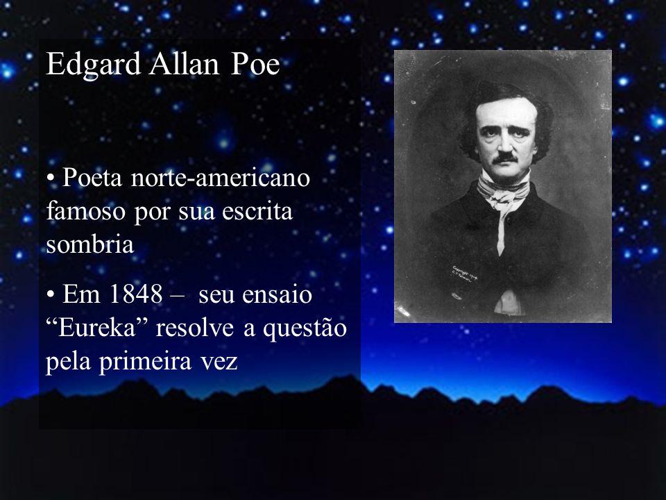 Edgard Allan Poe Poeta norte-americano famoso por sua escrita sombria Em 1848 – seu ensaio Eureka resolve a questão pela primeira vez
