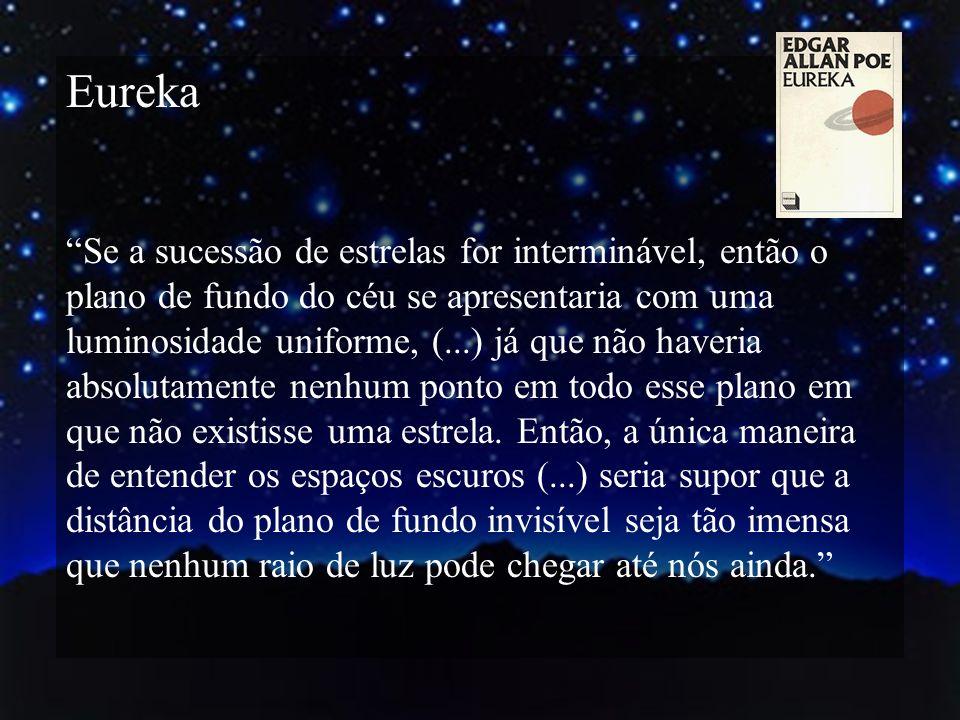 Eureka Se a sucessão de estrelas for interminável, então o plano de fundo do céu se apresentaria com uma luminosidade uniforme, (...) já que não haver