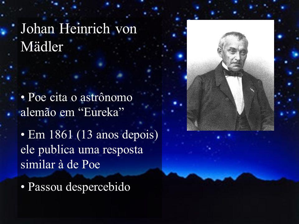 Johan Heinrich von Mädler Poe cita o astrônomo alemão em Eureka Em 1861 (13 anos depois) ele publica uma resposta similar à de Poe Passou despercebido
