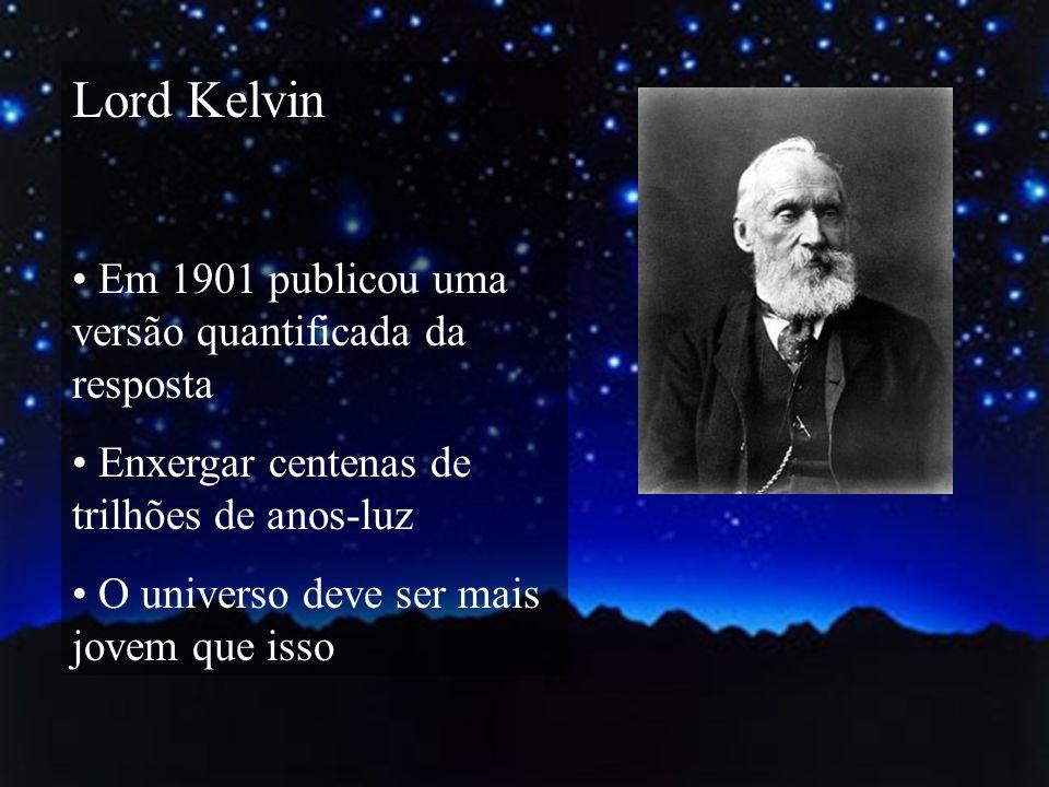Lord Kelvin Em 1901 publicou uma versão quantificada da resposta Enxergar centenas de trilhões de anos-luz O universo deve ser mais jovem que isso