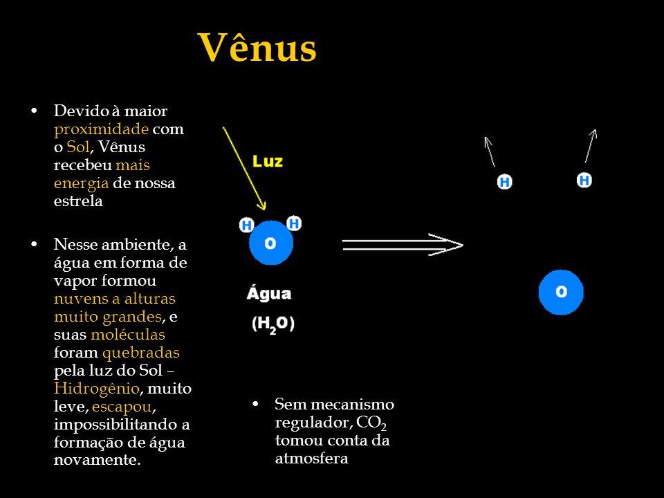 Devido à maior proximidade com o Sol, Vênus recebeu mais energia de nossa estrela Nesse ambiente, a água em forma de vapor formou nuvens a alturas mui