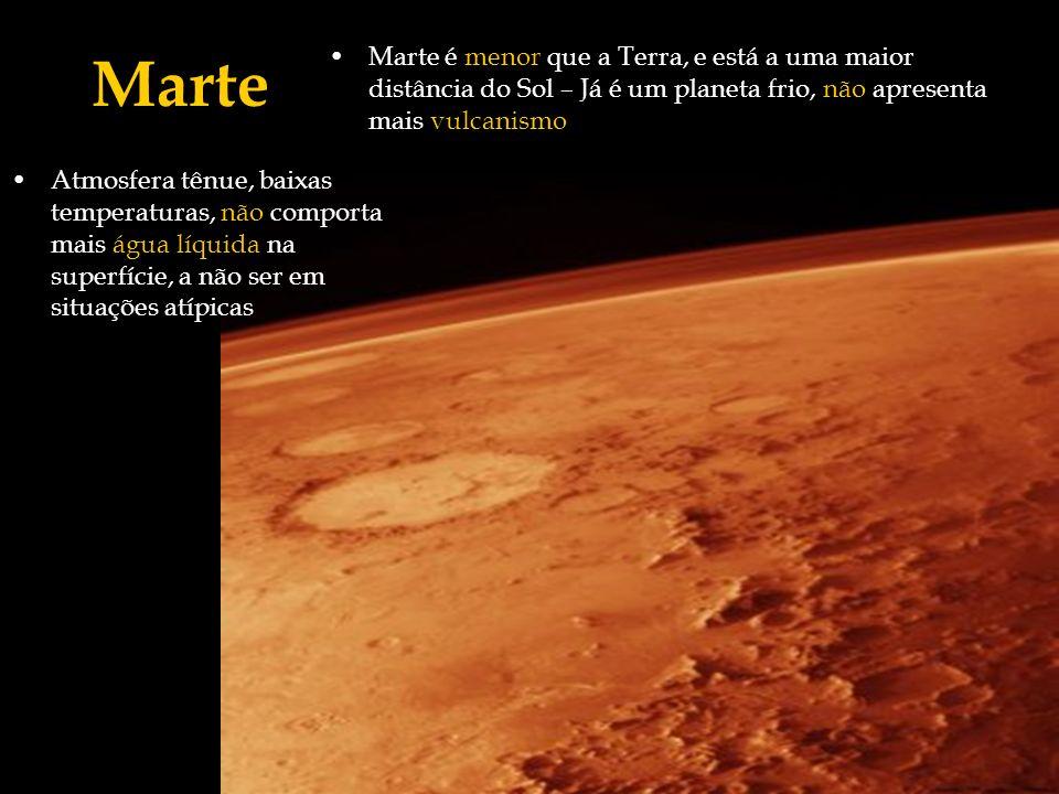 Marte é menor que a Terra, e está a uma maior distância do Sol – Já é um planeta frio, não apresenta mais vulcanismo Marte Atmosfera tênue, baixas tem