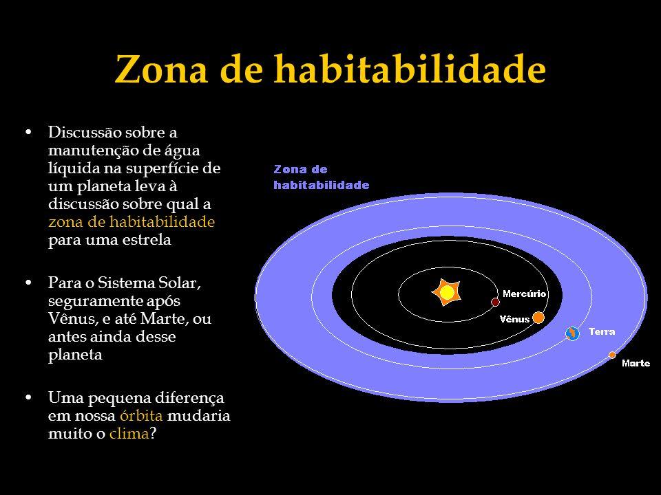 Zona de habitabilidade Discussão sobre a manutenção de água líquida na superfície de um planeta leva à discussão sobre qual a zona de habitabilidade p