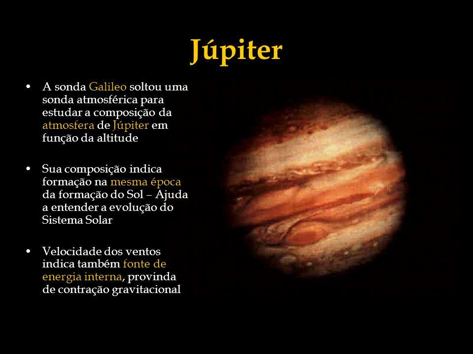 Júpiter A sonda Galileo soltou uma sonda atmosférica para estudar a composição da atmosfera de Júpiter em função da altitude Sua composição indica for