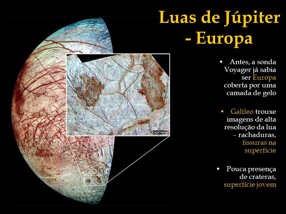Luas de Júpiter - Europa Antes, a sonda Voyager já sabia ser Europa coberta por uma camada de gelo Galileo trouxe imagens de alta resolução da lua – r