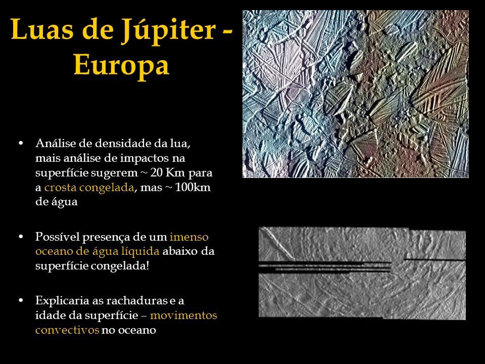 Luas de Júpiter - Europa Análise de densidade da lua, mais análise de impactos na superfície sugerem ~ 20 Km para a crosta congelada, mas ~ 100km de á
