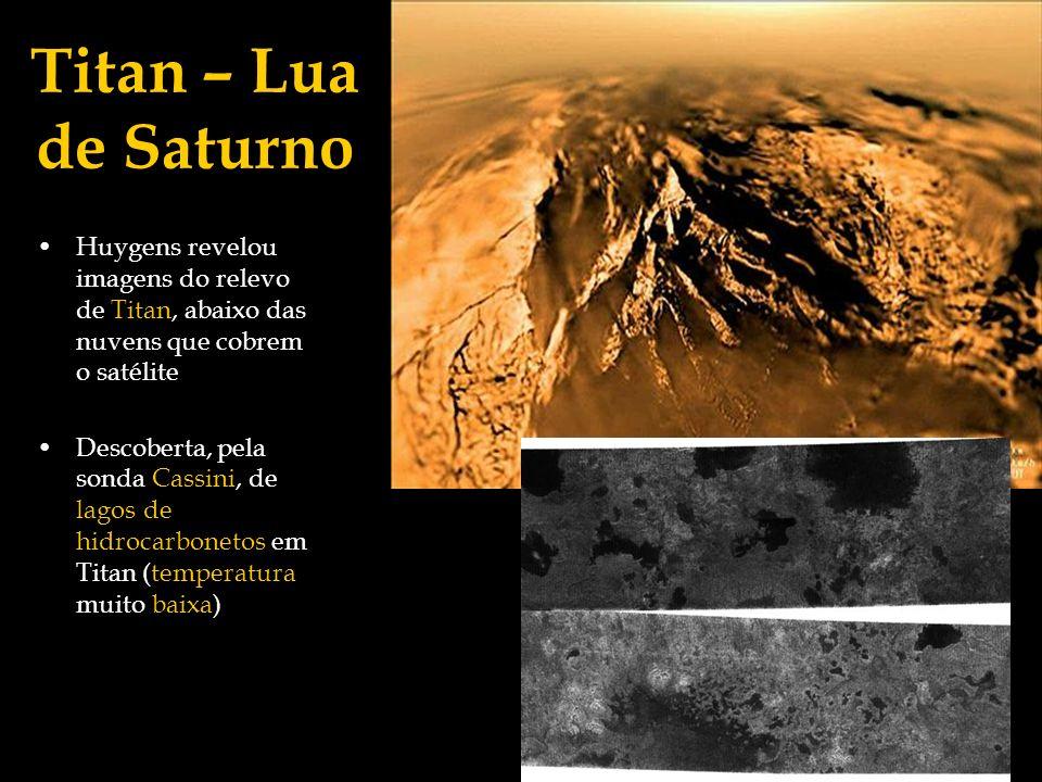 Titan – Lua de Saturno Huygens revelou imagens do relevo de Titan, abaixo das nuvens que cobrem o satélite Descoberta, pela sonda Cassini, de lagos de
