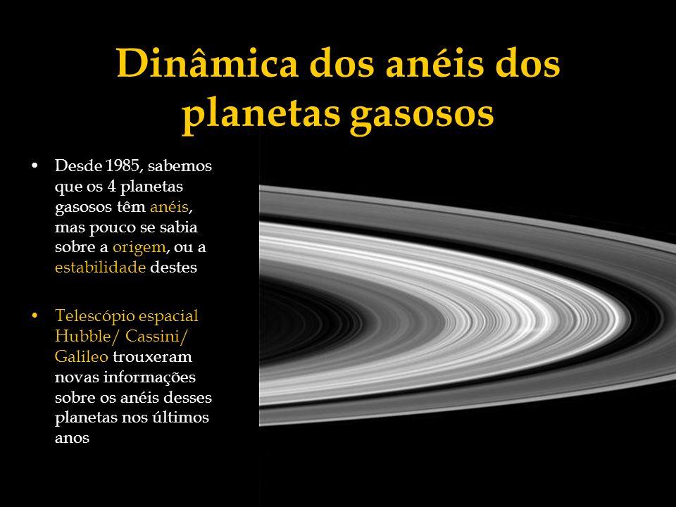 Dinâmica dos anéis dos planetas gasosos Desde 1985, sabemos que os 4 planetas gasosos têm anéis, mas pouco se sabia sobre a origem, ou a estabilidade