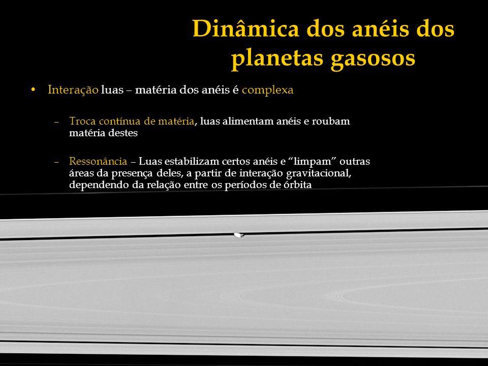 Dinâmica dos anéis dos planetas gasosos Interação luas – matéria dos anéis é complexa –Troca contínua de matéria, luas alimentam anéis e roubam matéri