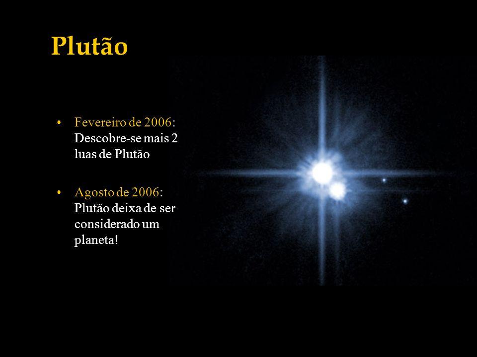 Plutão Fevereiro de 2006: Descobre-se mais 2 luas de Plutão Agosto de 2006: Plutão deixa de ser considerado um planeta!
