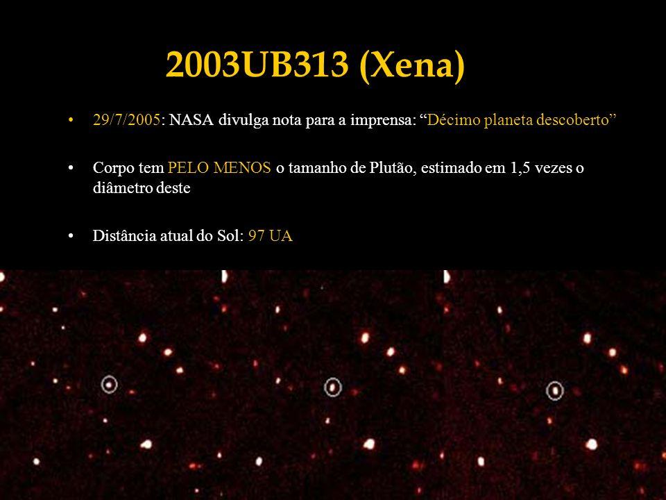 2003UB313 (Xena) 29/7/2005: NASA divulga nota para a imprensa: Décimo planeta descoberto Corpo tem PELO MENOS o tamanho de Plutão, estimado em 1,5 vez