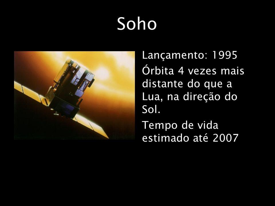 Soho Lançamento: 1995 Órbita 4 vezes mais distante do que a Lua, na direção do Sol. Tempo de vida estimado até 2007