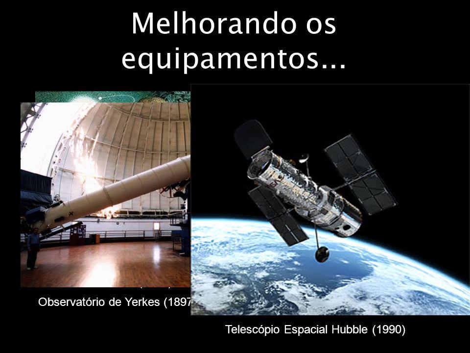 Melhorando os equipamentos... Isaac Newton (1671) William Herschel (1781) Observatório de Yerkes (1897) Telescópio Espacial Hubble (1990)