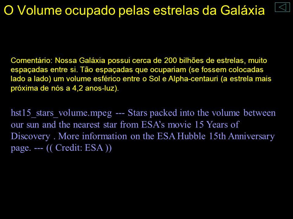 O Volume ocupado pelas estrelas da Galáxia Comentário: Nossa Galáxia possui cerca de 200 bilhões de estrelas, muito espaçadas entre si. Tão espaçadas