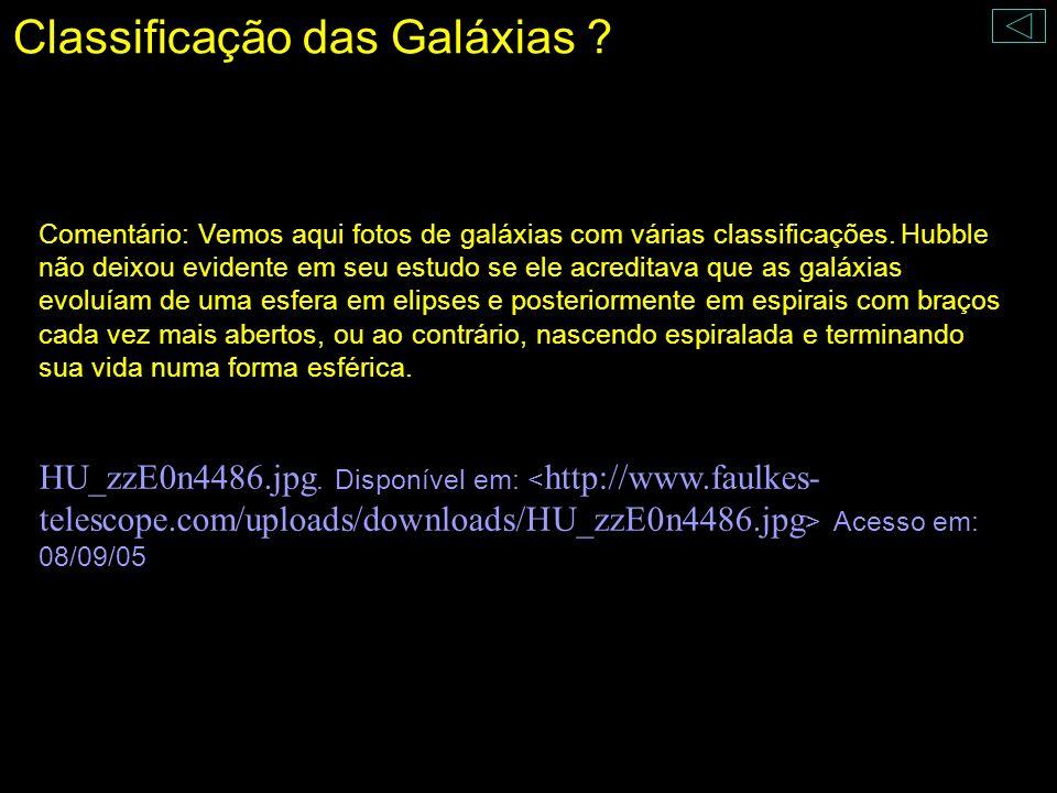 Classificação das Galáxias ? Comentário: Vemos aqui fotos de galáxias com várias classificações. Hubble não deixou evidente em seu estudo se ele acred