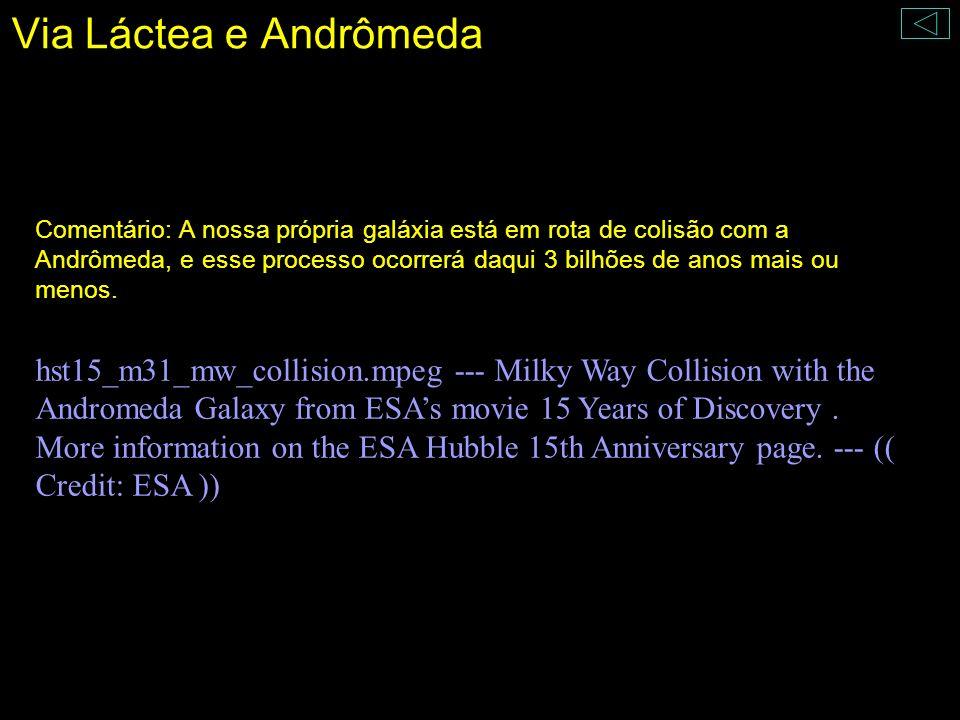Via Láctea e Andrômeda Comentário: A nossa própria galáxia está em rota de colisão com a Andrômeda, e esse processo ocorrerá daqui 3 bilhões de anos m