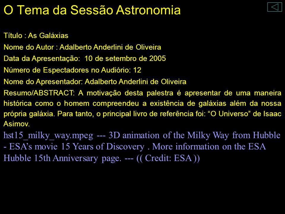 O Tema da Sessão Astronomia Título : As Galáxias Nome do Autor : Adalberto Anderlini de Oliveira Data da Apresentação: 10 de setembro de 2005 Número d