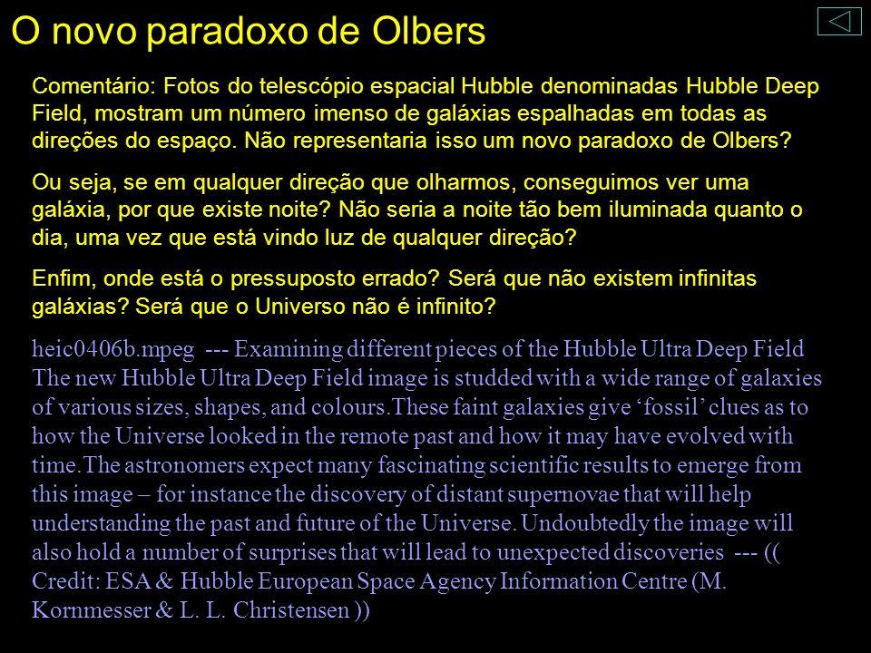 O novo paradoxo de Olbers Comentário: Fotos do telescópio espacial Hubble denominadas Hubble Deep Field, mostram um número imenso de galáxias espalhad