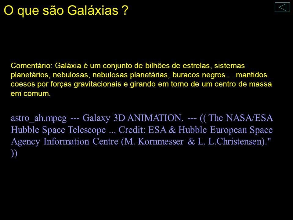 Comentário: Galáxia é um conjunto de bilhões de estrelas, sistemas planetários, nebulosas, nebulosas planetárias, buracos negros… mantidos coesos por