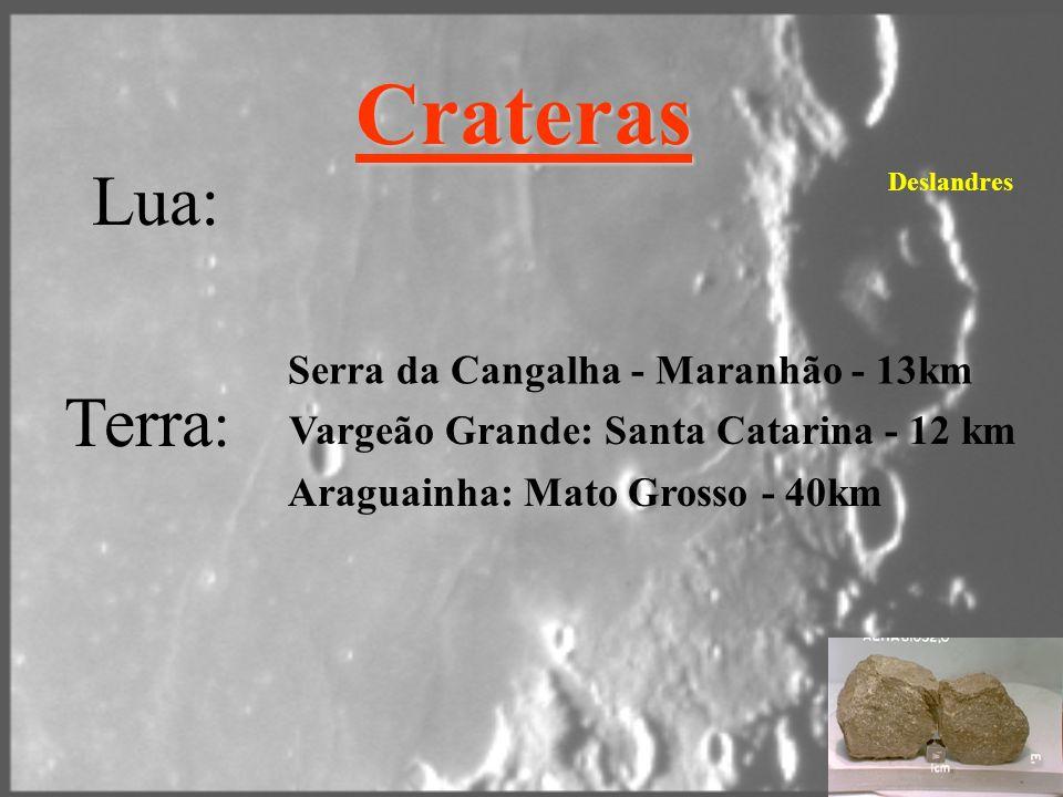 Crateras Lua: Terra : Serra da Cangalha - Maranhão - 13km Vargeão Grande: Santa Catarina - 12 km Deslandres Araguainha: Mato Grosso - 40km