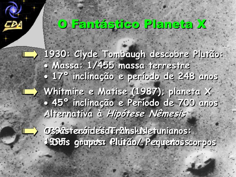O Fantástico Planeta X Perturbações no movimento de Urano Adams e Le Verrier sugerem mais um planeta... 1846: Netuno é descoberto mas não convence Le