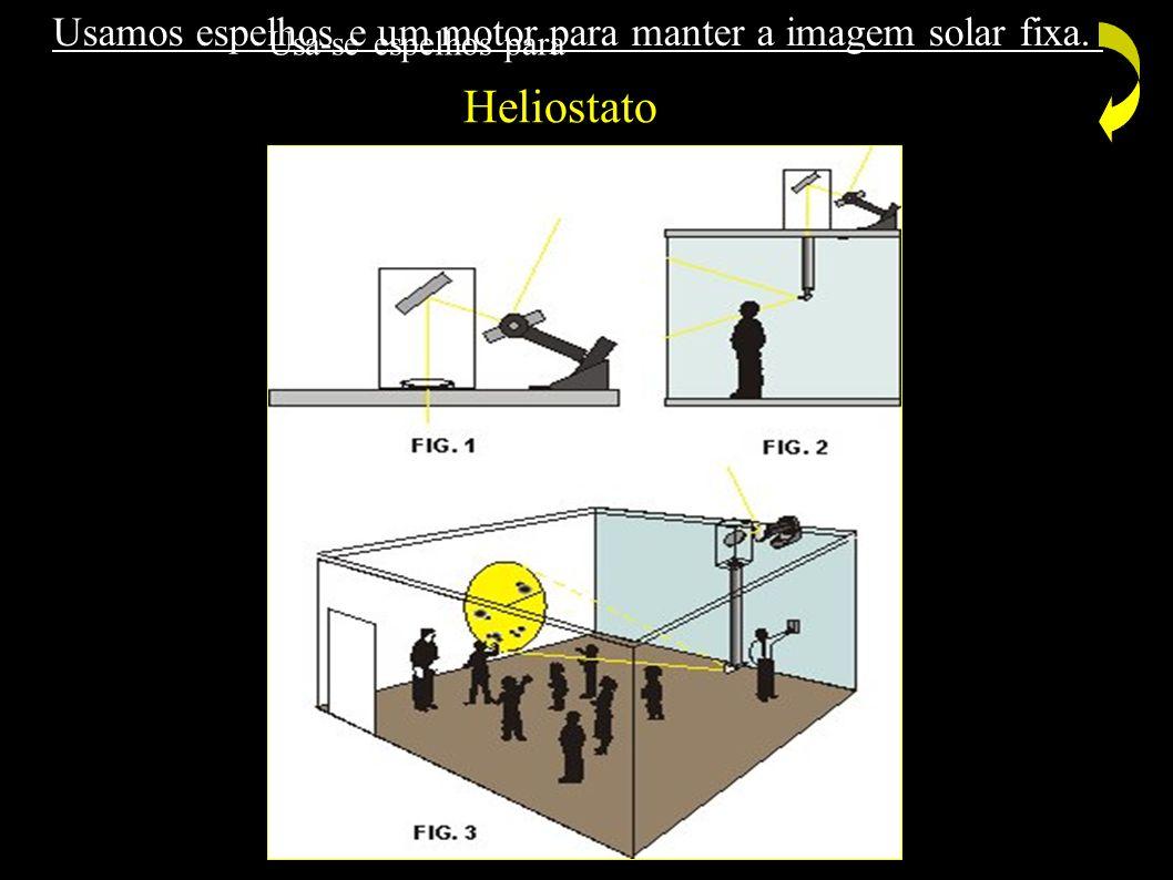 Usa-se espelhos para Usamos espelhos e um motor para manter a imagem solar fixa. Heliostato