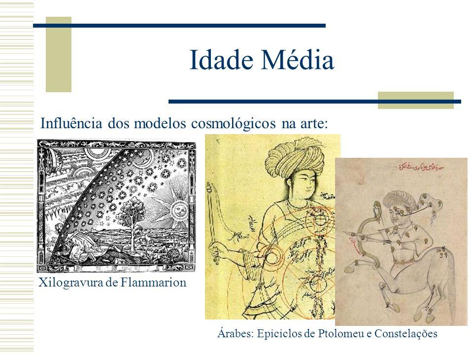 Idade Média Influência dos modelos cosmológicos na arte: Xilogravura de Flammarion Árabes: Epiciclos de Ptolomeu e Constelações