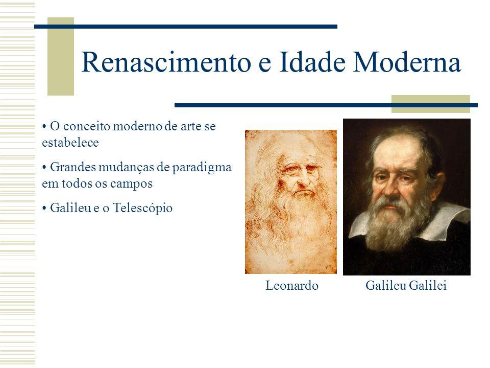 Renascimento e Idade Moderna O conceito moderno de arte se estabelece Grandes mudanças de paradigma em todos os campos Galileu e o Telescópio Galileu