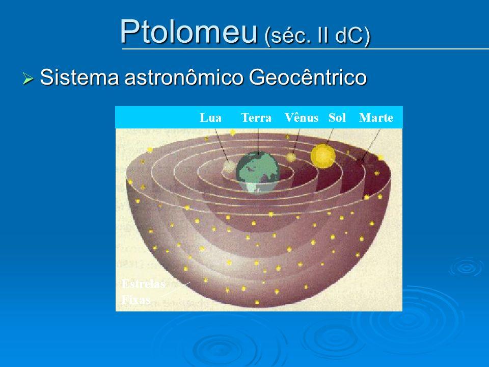 Ptolomeu (séc. II dC) Sistema astronômico Geocêntrico Sistema astronômico Geocêntrico Lua Terra Vênus Sol Marte Estrelas Fixas