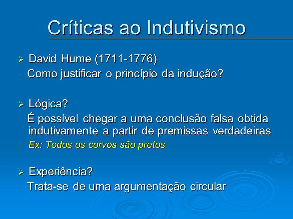Críticas ao Indutivismo David Hume (1711-1776) David Hume (1711-1776) Como justificar o princípio da indução? Como justificar o princípio da indução?