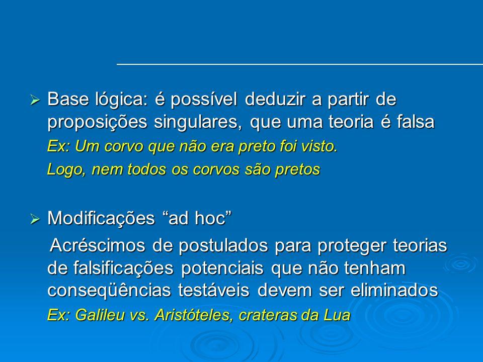Base lógica: é possível deduzir a partir de proposições singulares, que uma teoria é falsa Base lógica: é possível deduzir a partir de proposições sin