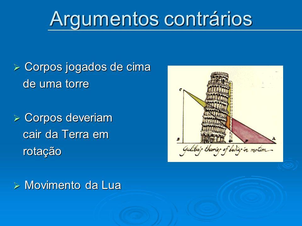 Argumentos contrários Corpos jogados de cima Corpos jogados de cima de uma torre de uma torre Corpos deveriam Corpos deveriam cair da Terra em cair da