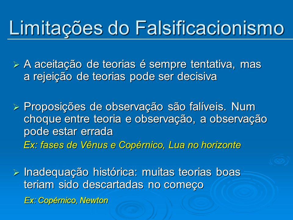 Limitações do Falsificacionismo A aceitação de teorias é sempre tentativa, mas a rejeição de teorias pode ser decisiva A aceitação de teorias é sempre