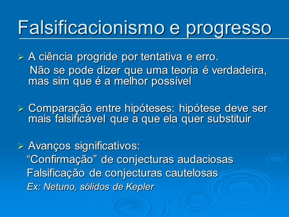 Falsificacionismo e progresso A ciência progride por tentativa e erro. A ciência progride por tentativa e erro. Não se pode dizer que uma teoria é ver
