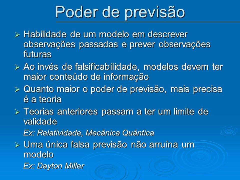 Poder de previsão Habilidade de um modelo em descrever observações passadas e prever observações futuras Habilidade de um modelo em descrever observaç