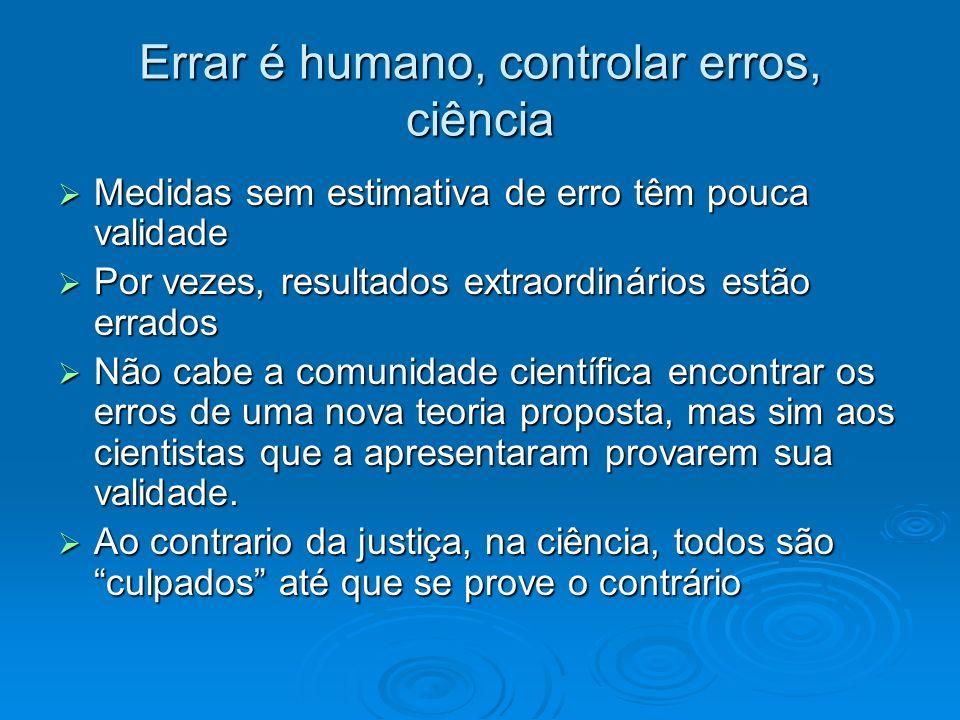 Errar é humano, controlar erros, ciência Medidas sem estimativa de erro têm pouca validade Medidas sem estimativa de erro têm pouca validade Por vezes