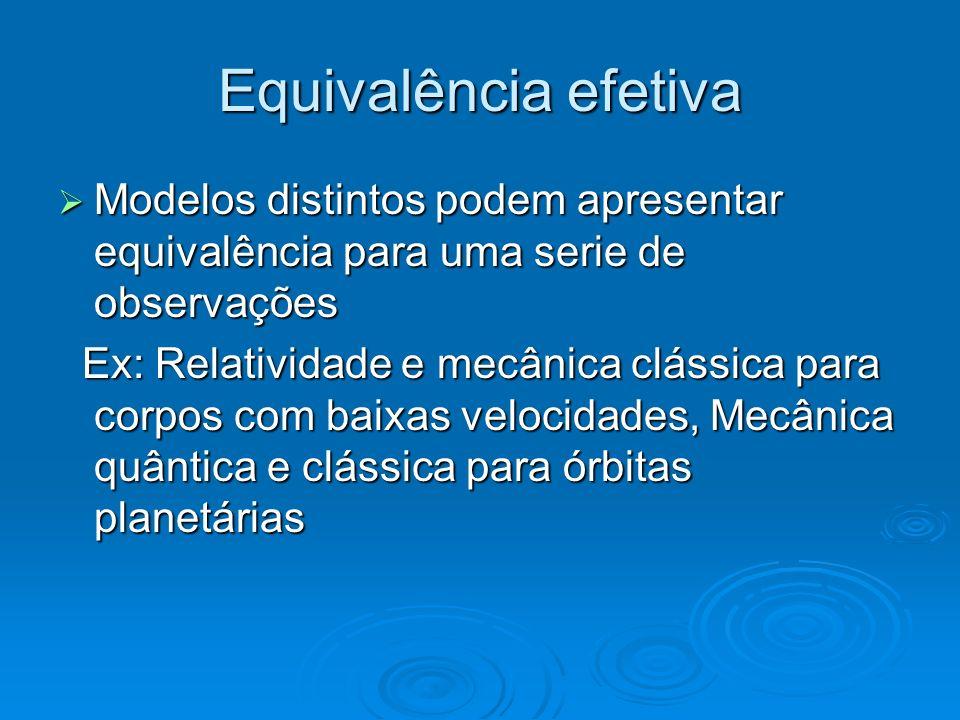 Equivalência efetiva Modelos distintos podem apresentar equivalência para uma serie de observações Modelos distintos podem apresentar equivalência par