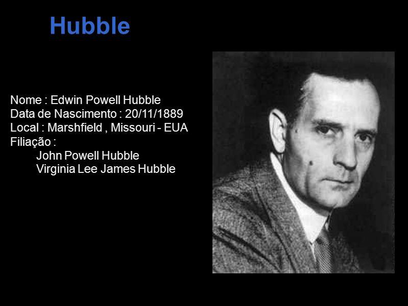 Hubble Nome : Edwin Powell Hubble Data de Nascimento : 20/11/1889 Local : Marshfield, Missouri - EUA Filiação : John Powell Hubble Virginia Lee James
