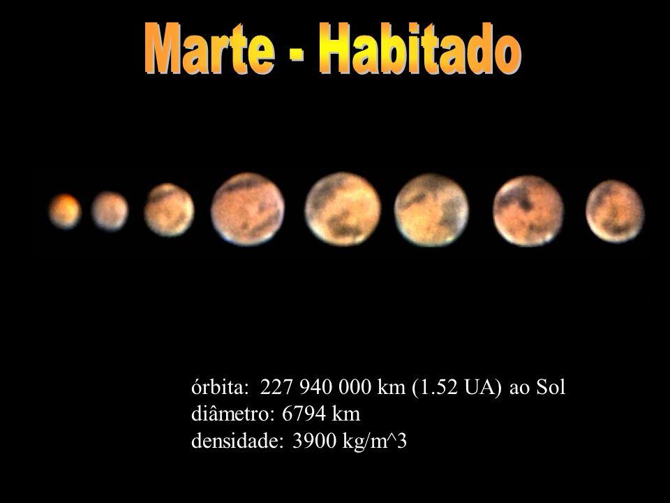 órbita: 227 940 000 km (1.52 UA) ao Sol diâmetro: 6794 km densidade: 3900 kg/m^3