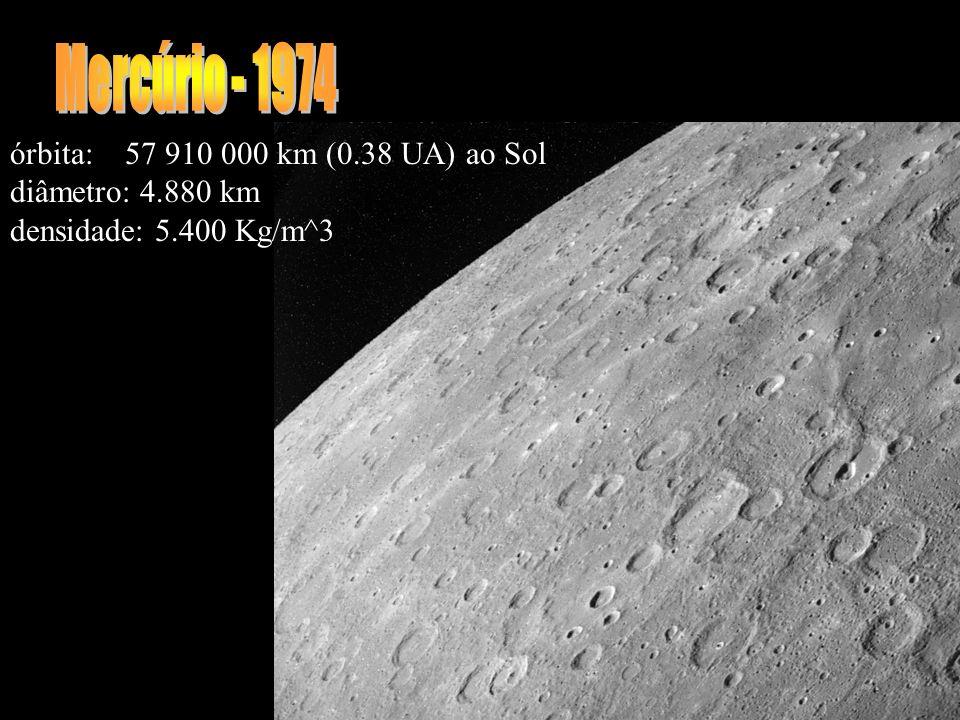 órbita: 57 910 000 km (0.38 UA) ao Sol diâmetro: 4.880 km densidade: 5.400 Kg/m^3