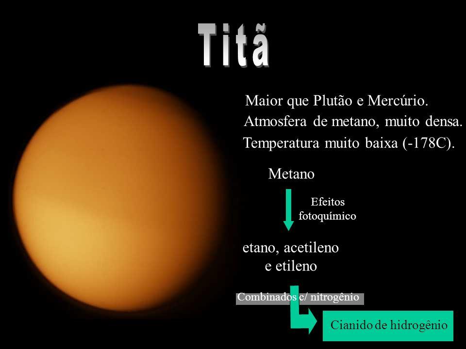 * Maior que Plutão e Mercúrio.* Atmosfera de metano, muito densa.