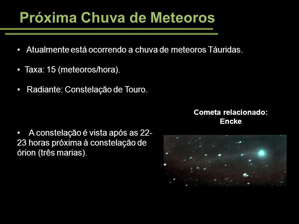 Próxima Chuva de Meteoros Atualmente está ocorrendo a chuva de meteoros Táuridas. Taxa: 15 (meteoros/hora). Radiante: Constelação de Touro. Cometa rel