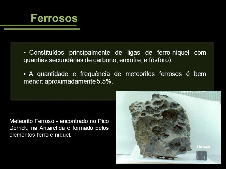 Ferrosos Constituídos principalmente de ligas de ferro-níquel com quantias secundárias de carbono, enxofre, e fósforo). A quantidade e freqüência de m