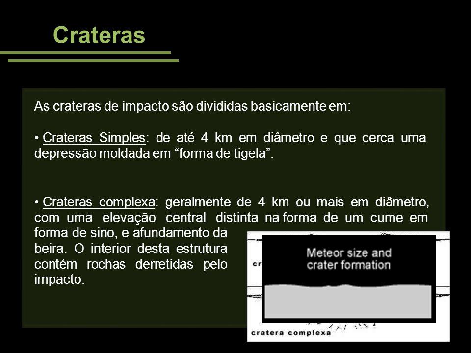 Crateras As crateras de impacto são divididas basicamente em: Crateras Simples: de até 4 km em diâmetro e que cerca uma depressão moldada em forma de