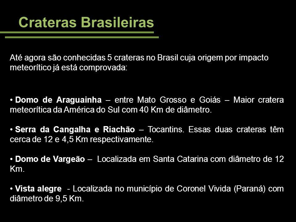 Crateras Brasileiras Até agora são conhecidas 5 crateras no Brasil cuja origem por impacto meteorítico já está comprovada: Domo de Araguainha – entre