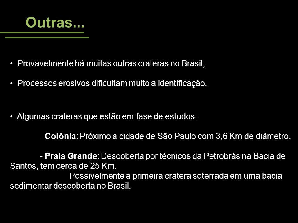 Outras... Provavelmente há muitas outras crateras no Brasil, Processos erosivos dificultam muito a identificação. Algumas crateras que estão em fase d