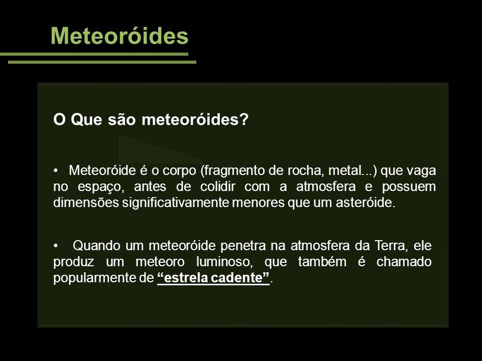 Meteoróides O Que são meteoróides? Meteoróide é o corpo (fragmento de rocha, metal...) que vaga no espaço, antes de colidir com a atmosfera e possuem